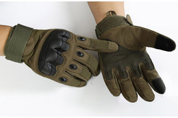 Wholesale wholesale military gloves - Men Military Tactical Rubber Gloves Hard Knuckle Full Finger Gloves For Outdoor Motorcycle Racing Airsoft Paintball Shooting 3 Colors G695F