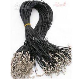 """Gomma 1.5mm online-Caldo ! 100pcs / lot 1.5MM 18 """"collana di corda di gomma del catenaccio della collana di corda dei monili di DIY breve degli uomini"""