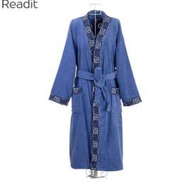 Kimono di cotone uomo online-Accappatoi per uomo Robes Maschile Plus Size 100% Cotone Accappatoi Accappatoio Accappatoio Mens Sleepwear Lungo Abito maschile Kimono PA1858