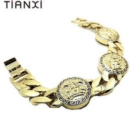 Brazaletes de cabeza de león online-Joyería de Bulgaria Chunky Lion Head Pulsera Hip Hop Gold Link Pulseras de cadena para hombre Mujer Rock Bracelet Bracelet