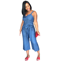 af37cf380e7 Hot Fashion Ladies Casual Style Women Denim Jumpsuit Solid V-Neck  Sleeveless Belt Calf-Length Bodycon Romper Plus Size 3XL