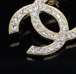 Wholesale Wedding Crystal Rhinestone Corsage Pins - Brand Designer Double Crystal Enamel Letters Corsage Brooch Broach Lapel Pins Wedding Party Jewelry Dress Clothing Accessory