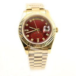 Wholesale sapphire crystal automatic - Luxury 18K Gold President Day Date Sapphire Crystal Number Red Dial Men Watches Automatic Mechanical Stainless Male Wrist Watch Relo Reloj.