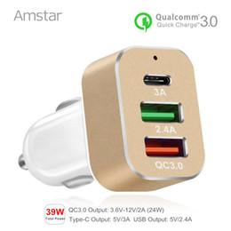 2019 sumsang mobile Amstar usb-c carregador de carro tipo-c carga rápida 3.0 usb carregador de carro 39 w qc3.0 carregador do telefone móvel do carro para sumsang s8 xiaomi mi5 sumsang mobile barato