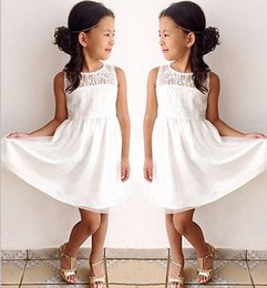 Wholesale Baby Clothes Military - Enfant Child Girl Clothing Fashion Baby Girls White Lace Dress Party Formal Princess Children Kids Dresses