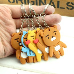 Wholesale ring delivery - Film cartoon Anime Image keyring Keychain PVC Bear cat superhero Figures Key Chain Key Ring Hold Bag Hangs Fashion Kids Gift Random delivery