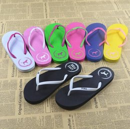 Wholesale Girls Summer Shoe - 5 Colors Girls Pink Flip Flops Love Pink Sandals Pink Letter Beach Slippers Shoes Summer Soft Beach Slipper 2pcs pair CCA9172 20pairs
