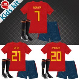 Wholesale Spanish Boys - 2018 world cup Spain Kids Kit home Soccer Jerseys MORATA ISCO ASENSIO RAMOS SILVA Spanish national team shirt Child youth football jerseys
