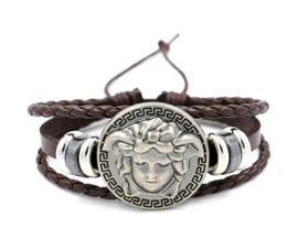 Wholesale leather wrap bracelets for women - wholesale punk DJ Men Jewelry Hip Hop Rock Style Jewelry Black White Pu Leather Spikes Wrap Bracelets Bangles for Men and Women