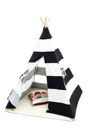 Wholesale Baby Play Tents - Dalosdream Stripe 100% Cotton Canvas Play Teepee Children Play house Toy Tents baby game room children tent toy tent