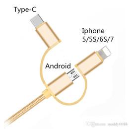 Микро оплетки продажа онлайн-Горячие продажи 1 м 3 в 1 нейлон плетеный микро зарядки прочный тип C данных USB кабель для Android Iphone 5/5S/6S / 7