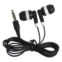 Wholesale mp4 audio - Universal Cheapest 100PCS LOT Disposable Black Colorful In-Ear Earbuds Earphone For IPhone 4 5 6 Headphones MP3 MP4 3.5mm Audio DHL Free