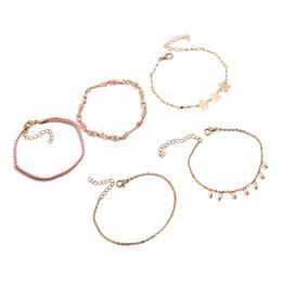 0ecce10feb8f Nueva moda de oro rosa pulseras de color cristales perlas de imitación  brazalete para las mujeres joyería de moda elegante 5 piezas   set