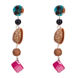 Wholesale Oyster Shell Jewelry - Shell Drop Earrings For Women Jewelry 2018 new Gift Oyster Fashion Vintage Luxury Geometric multilayer plank color Dangle Earrings wholesale