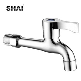 Wholesale Wall Faucet Stainless Steel - SHAI Fast On Faucets Drain Water Tap With Ornament Cover Long Duct Single Handle Facuet Wall Mounted Installation NIERSI Faucet