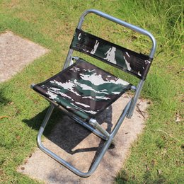 Wholesale Oxford Metal - Portable Folding Fishing Chairs Metal Steel Tube Backrest Chair Camouflage Oxford Cloth Stools Multi Function 5 6bk B