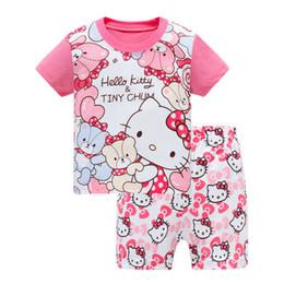 Lista de crianças on-line-Listagem do novo Crianças Roupas de Verão Crianças meninos meninas Crianças Conjuntos de Roupas Dos Desenhos Animados terno Sleepwear Manga Curta Dos Desenhos Animados