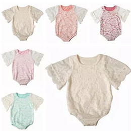 eee1d38a9ba 2018 spring summer toddler girl lace flowers rompers short sleeve onesies  baby boutique clothing infant clothes cotton jumpsuits newborn top