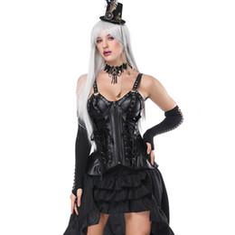 Ropa victoriana online-Correa negra Cremallera frontal con cordones Vintage Corset Bustier Dress Steampunk Vestidos Victorian Gothic Clothing Burlesque Disfraces