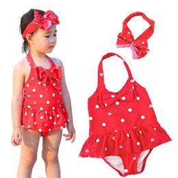 Wholesale korean two piece dresses - 2018 children's swimwear children new Korean cute girl baby one-piece dress infants swimwear dance clothing
