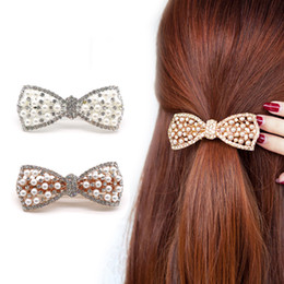 Wholesale Big Metal Pin - 1Pcs Crystal Rhinestone Hair Clips Scrunchy Donut Big Hair Pins Metal Clip Haipins Accessories For Women Lady 2Color