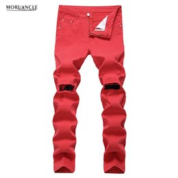 Wholesale Slim Fit 42 - MORUANCLE Hi-Street Mens Ripped Jeans Pants With Knee Holes Slim Fit Stretchy Distressed Denim Trousers Joggers Plus Size 28-42