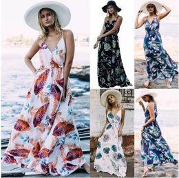 l beach maxi dress 2018 - Summer Beach Boho Casual Dresses for Women Floral Print Maxi Dresses Chiffon V Neck Long Plus Size Casual Women Dresses FS3436