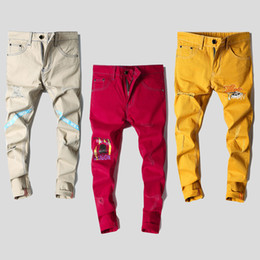 Wholesale Skinny Jeans Korean Style - Colorful Red Yellow Khaki Jeans Male Slim Straight Hole New Printed Casual Pants Korean Style Long Trousers Personality for Men
