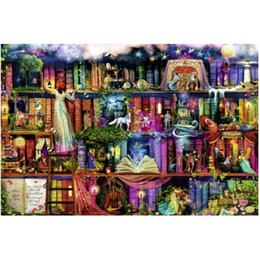Wholesale Counted Cross - Fabulous Library Counted Full Drill DIY Mosaic Needlework Diamond Painting Embroidery Cross Stitch Craft Kit Wall Home Hanging Decor