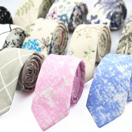 Wholesale Wholesale Cotton Mens Ties - Fashion Neck Tie For Men Floral Linen Ties for Wedding Party Print Narrow Neckties Casual Mens Retro Neckwear Male Cotton Ties