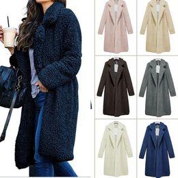 bc88841ad50 S-3XL Women Sherpa Wool Coat Jacket Winter Warm Fuzzy Long Sleeve Lapel  Faux Fur Shaggy Sweatshirt 10 Colors Fleece Sweater Outerwear Tops