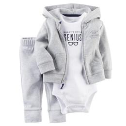 2017 Mais Recente Casual Recém-nascido 6 9 12 18 Meses Cardigan Calças Definir Roupas de Bebê Menino Roupa Cinza Bodysuit Baby Boy roupas de