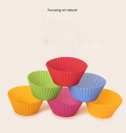 Wholesale Cupcake Silicon - 7cm Round Shaped Silicon Cake Baking Molds Jelly Mold Silicon Cupcake Pan Muffin Cup