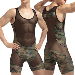 Wholesale Army Hot Sexy Man - men\man's hot sexy camouflage slim vest fashion transparent net pacthwork Polyester spandex bodysuit\Jumpsuits for gay\boyfriend gifts