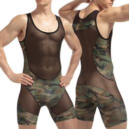 Wholesale Army Jumpsuit - men\man's hot sexy camouflage slim vest fashion transparent net pacthwork Polyester spandex bodysuit\Jumpsuits for gay\boyfriend gifts