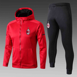 Wholesale Italy Trains - 2018 ITALY Rossoneri AC Milan football tracksuits Andre Silva and Fabio Borini hat soccer men's red training sweater suit