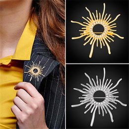 Wholesale Pin Sun - U7 Brooches Austrian Rhinestone Big Sun Flowers Pin Accessorie Gold Silver Color Gift For Women Jewelry Brooch B2732