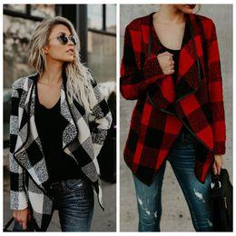 Wholesale turndown collar - Winter Women Cardigan Long Sleeve Turndown Collar Loose Sweater Plaid Loose Knitted Cardigan Knitted Cardigan Poncho OOA4258