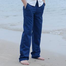 pantalones cool mens Rebajas Verano Primavera Mens Pantalones Largos de Lino Cintura Elástica de Color Sólido Recto Ocasional Loose Cool Pantalones Largos Más Tamaño M-3XL Y2374