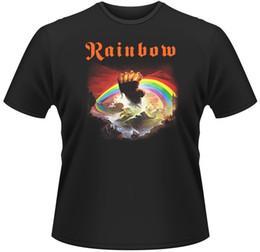 Argentina RAINBOW Rising Album BLACK TEE Camiseta tamaño-S a 5XL 2017 Nueva camiseta de moda para hombres de ocio de algodón de manga corta 100% Suministro