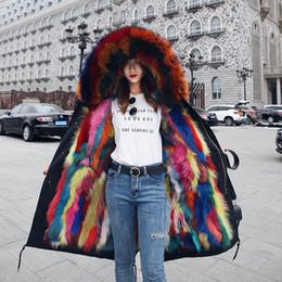Wholesale thick white fur luxury coat - 2018 New Parka Real Fox Fur Raccoon Fur Thick Warm Winter Jacket Women Coat Brand Luxury Streetwear Casual Fashion Long