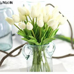 Wholesale Tulip Flower Art - LIN MAN 10pcs lot, PU single small silk tulip artificial simulation flowers for house adornment decoration by arranging art