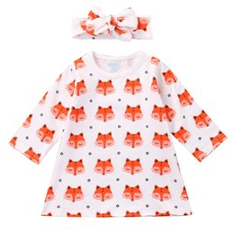 Wholesale Neck Fox - Girls Fox Dresses Hairband Long Sleeve 95% Cotton Blends Baby Girls Dresses Pink Fox Cartoon Printed Skirt Breathable Summer Outfit 3-24M