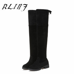 low heel long boots Coupons - RLINF New Over-the-knee Suede Skinny Long Tube Low-heeled Thin Female Boots