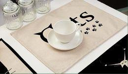 Матовый черный цвет онлайн-Черные Кошки Стол Коврик Хлопок Белье Милый Кот Рисунок Placemat Посуда Подставки Для Кухни Ужин Аксессуары