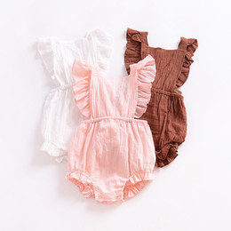 Wholesale Girls 24 Months - Baby Back cross romper INS Girl Ruffle sleeves Jumpsuits 2018 summer fashion Boutique kids Flatter sleeve Climbing clothes C4004