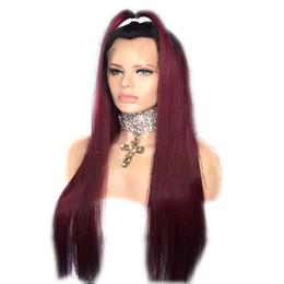 2019 devant en dentelle de cheveux rouge foncé Perruque Synthétique Lace Front Ombre Dark Roots Vin Rouge Résistant À La Chaleur Fibre Cheveux Sans Colle Bordeaux Longue Soyeuse Droite Perruque En Dentelle devant en dentelle de cheveux rouge foncé pas cher