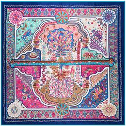 bufanda paisley morada Rebajas Chal de seda cuadrado de mujer vintage Diseño de lujo hecho a mano Chales de bufanda púrpura étnica Chales de sarga grandes al por mayor 130 * 130 cm