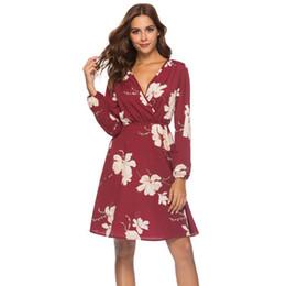 2018 Женщины Повседневная Dress осень и зима новый сексуальный V-образным вырезом с длинными рукавами печатных платья цветочный принт старинные Bohemia Beach Женская одежда от