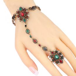 Catena a mano indiana online-Nuovo braccialetto turco per le donne Antique Exquisite Crystal posteriore della mano catena indiana gioielli bracciali gioielli